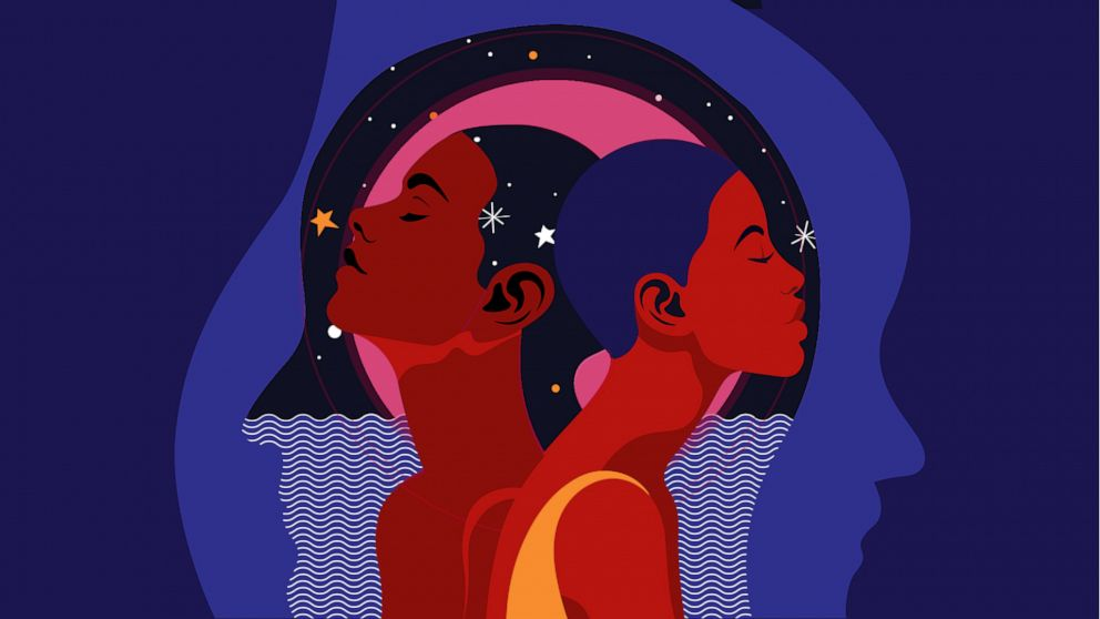 Two black women surrounded by space and stars